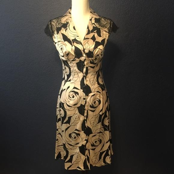 bebe Dresses & Skirts - BEBE VINTAGE Silk Floral Dress With Lace Detail